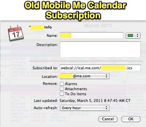 Old MobileMe Calendar Subscription