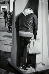 man bag II (Paul fotografeert!) Tags: blackandwhite amsterdam toilet hood peeing manpurse manbag plassen wcunit