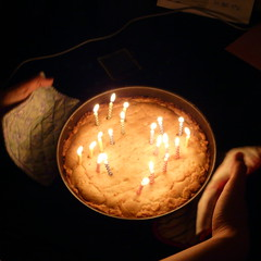 (ktLaurel) Tags: birthday party cake candles almond flame wish frangipan