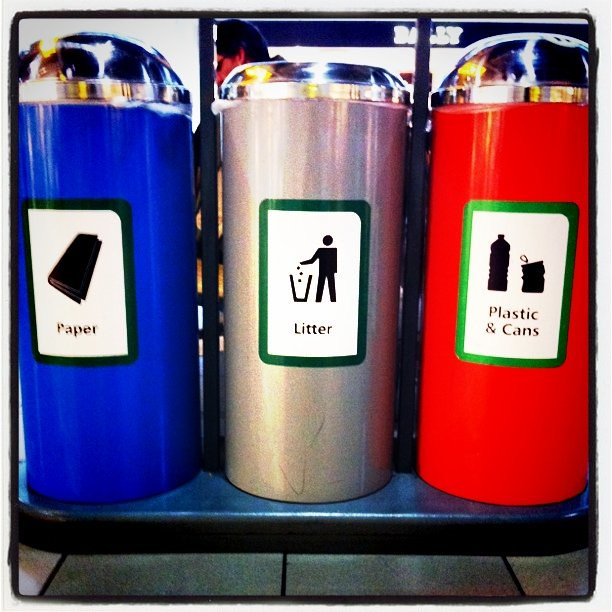 Even the trash cans are cool in London's Heathrow Airport!