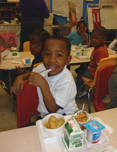 Students enjoy breakfast in the classroom at MacAuliffe Elementary School in Chicago. MacAuliffe was one of the first Chicago Public Schools to implement breakfast in the classroom.  Note: this photo was taken in April 2008 if anyone needs to know.