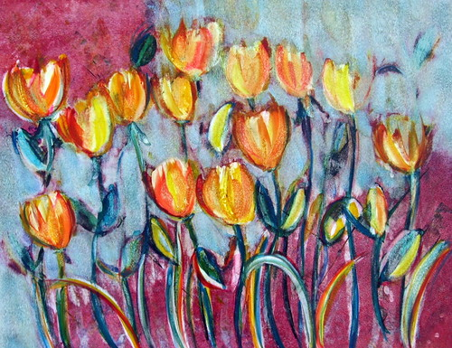 Abstract Tulips - Watercolor