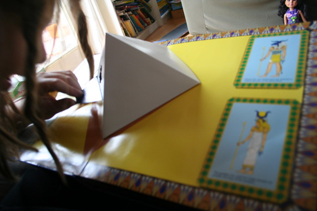 Peeking into the pyramid in the Math Kit book