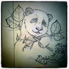 March 16 (Bi0star) Tags: bear moleskine tattoo illustration pencil asian japanese photo nicole leaf panda waves mechanical image drawing flash bamboo theme iphone nowicki