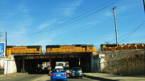 Union Pacific locomotives idling above South Western Avenue. Chicago Illinois USA. March 2011. by Eddie from Chicago