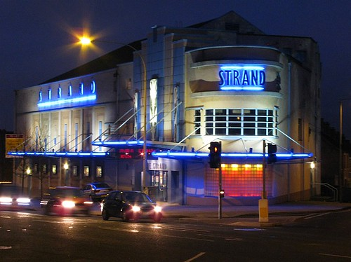 The Strand Cinema at night in East Belfast