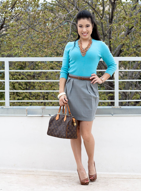 turquoise knit sweater grey tulip skirt louis vuitton speedy 25 aldo whitsey michael kors rose gold watch