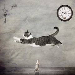 The Cat Jumped Over the Rat :-) (Eve Livesey) Tags: moon clock cat photoshop cow rat key over surreal fantasy montage variation jumped imagepoetry idream thelittledoglaughed thecatwhoturnedonandoff redmatrix art2011