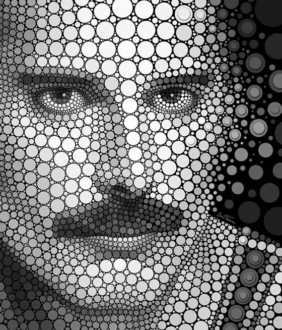 círculos para formar rostros humanos