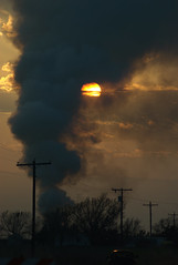 Smoke obscures the sun