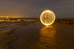 Fizzy orb on the rocks (- Hob -) Tags: lightpainting reflection shoreline orb lowtide sparkler whitleybay lightsphere lapp tablerocks  lightjunkies  lightartperformancephotography wwwfacebookcompageslightpaintingorguk517424921642831