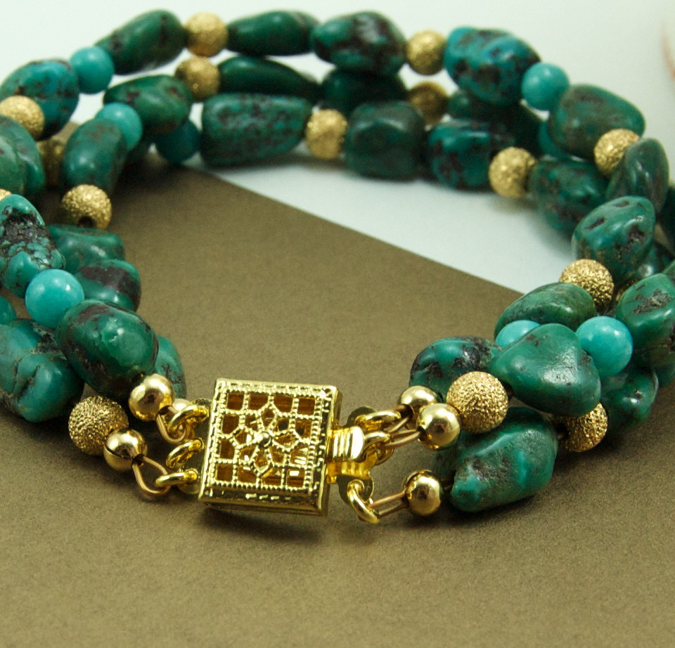 Gemma Multistrand Bracelet, Turquoise and Gold Beads