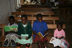 Children reading at Caezaria Public Library