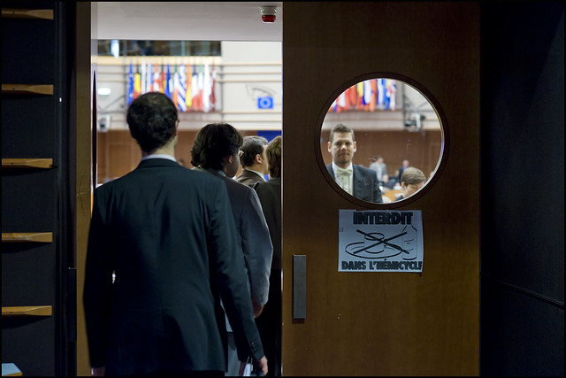 MEPs enters the plenary chamber by European Parliament
