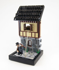 Watch for Falling Debris (Titolian) Tags: roof house castle water stone lego debris medieval falling cobble pot chamber vignette