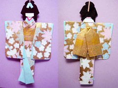 Hand-made Japanese paper doll (tengds) Tags: pink flowers blue origamipaper papercraft japanesepaper washi ningyo handmadedoll chiyogami crepepaper yuzenwashi japanesepaperdoll origamidoll tengds
