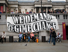 Regime Change (Sven Loach) Tags: uk england london canon march britain budget banner photojournalism trafalgarsquare tourists nationalgallery change government unions coalition trade cuts regime reportage conservatives tuc tories g12 libdems londonist anticapitalist 2011 26march anticuts