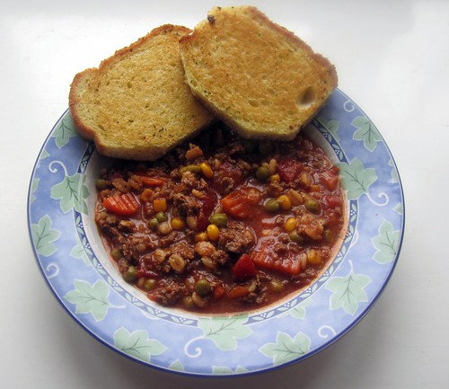 Beefy Vegetable Barley Soup w/ Garlic Toast