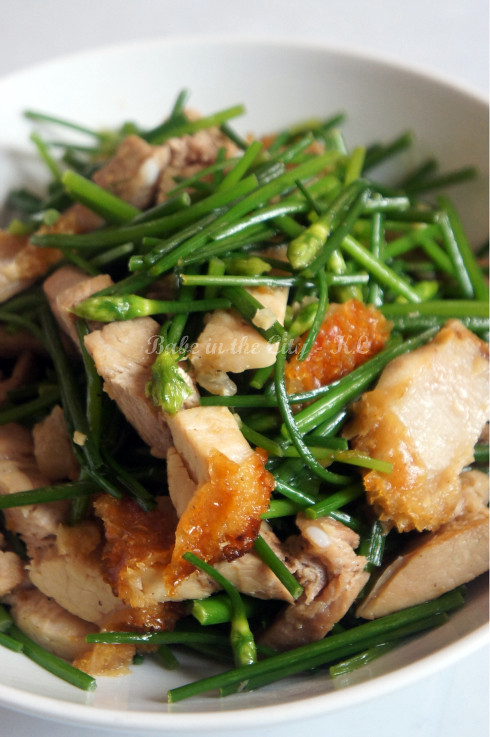 Stir-Fried Flowering Chives with Roast Pork