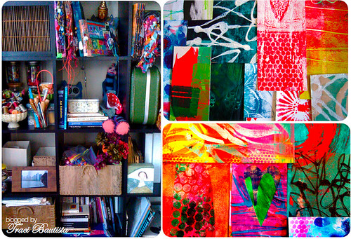 inspiration cube & painted collage papers