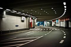 tunnel (polomar) Tags: street leica light dark licht flickr stripes strasse cologne tunnel autobahn kln console unten mediapark dunkel streifen ringe lampen m9 parkhaus durchfahrt hereyes polomar