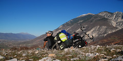 Albanian Panorama (marmite_boy) Tags: panorama mountains bike cyclist bluesky albanian albania cycletouring