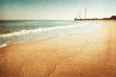 Summers Past. (CarolynsHope) Tags: sea orange seascape color beach colors vintage landscape seaside sand waves teal shore ferriswheel nostalgic tones bluegreen