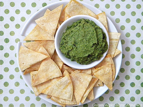 Spinach and Cannellini Bean Dip with Homemade Tortilla Chips