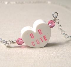UR CUTE (LoveYourBling) Tags: heart handmade etsy beaded valentinesday swarovskicrystal conversationhearts crystalheart handwoven handmadejewelry loveyourbling