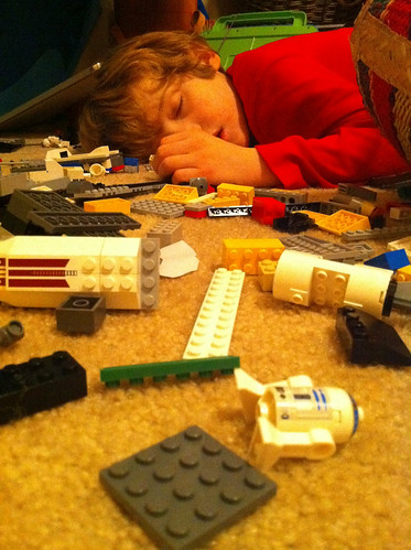 Passed out among the LEGOs