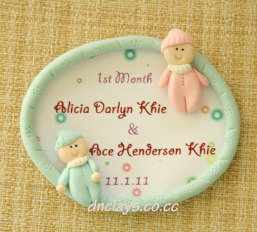 fridge magnet blue frame 1 month babies