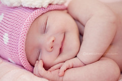 smile (Elena (Litsova) Sigtryggsson) Tags: pink baby girl smile face hat newborn asleep
