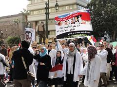 Doctors and nurses march down Kasr Al Ainy Street
