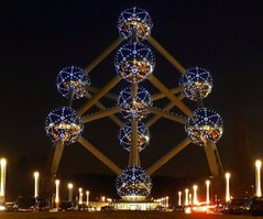 Bruxelles Atomium Brussels, Belgium (Sir Francis Canker Photography ) Tags: christmas plaza travel brussels panorama heritage history tourism monument skyline architecture night square landscape lights noche grande twilight europa europe exposure european place shot belgium belgique belgie nacht dusk monumento capital picture bruxelles grand landmark icon tourist best chemist