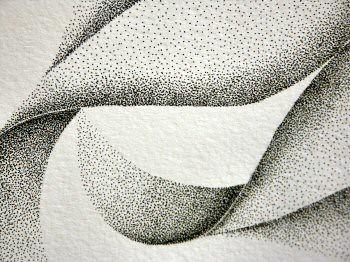 Dessin à l'encre au point inspirée d'un pétale de dimension 36x48cm. Les formes évoluent en s'ouvrant en suivant une ligne courbe vers la gauche – Sandrine Vallée