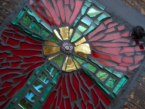 River of Life Cross Mosaic on Slate