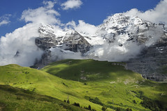 Eiger & Mnch (pierre hanquin) Tags: summer sky cloud snow mountains alps color green nature colors berg clouds alpes landscape geotagged schweiz switzerland nikon europa europe suisse pierre swiss vert ciel getty neige helvetia svizzera nuage nuages landschaft eiger wengen ch jungfrau montagnes berneroberland oberland d90 1685 myswitzerland 1685mmf3556gvr mygearandme mygearandmepremium mygearandmebronze mygearandmesilver mygearandmegold mygearandmeplatinum mygearandmediamond dblringexcellence tplringexcellence ayrc0401 aboveandbeyondlevel1 eltringexcellence hanquin