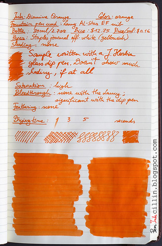 Diamine Orange ink review on Staples journal