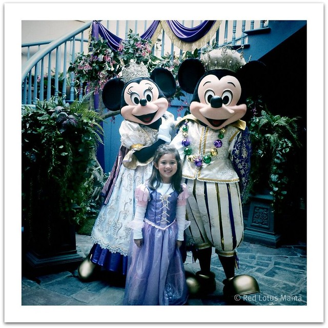 Princess D with Mardi Gras Queen Minnie and King Mickey