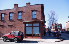 Jeep on the Corner of Main Street - Beacon, NY (ChrisGoldNY) Tags: red ny newyork architecture mainstreet forsale jeeps upstate albumcover bookcover beacon corners putnamcounty husonrivervalley chrisgoldny chrisgoldberg chrisgold chrisgoldphotos