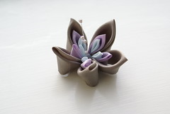 Kanzashi - Pale Anemone (cuttlefishlove) Tags: wedding flower japan japanese petals brooch silk craft ornament bridal folding weddingoutfit hairclip kanzashi fascinator hairornament habotai weddingwear habotae