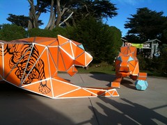 Origami tigers at the zoo