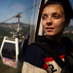 Weekend in the mountains (ntitov) Tags: panorama woman mountains window girl beautiful face look female cabin looking lift view traffic trolley cab young taiwan route transportation gondola taipei passenger publictransport attraction maokong touristdestination