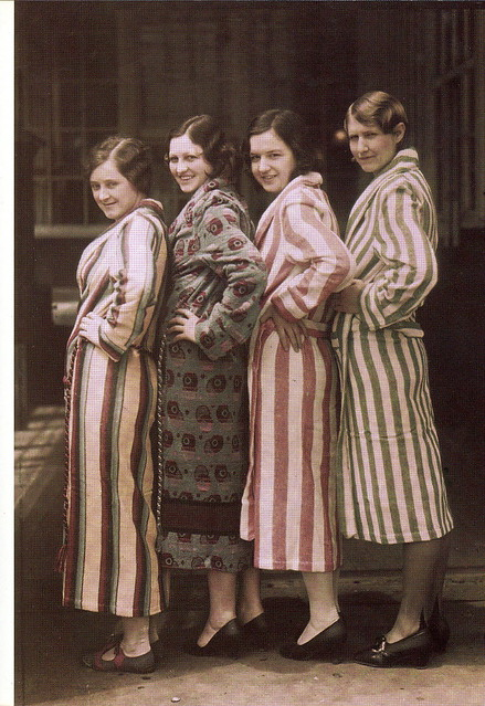 Colorful beach robes were made in Anniston, Alabama, from the state's wealth of raw cotton