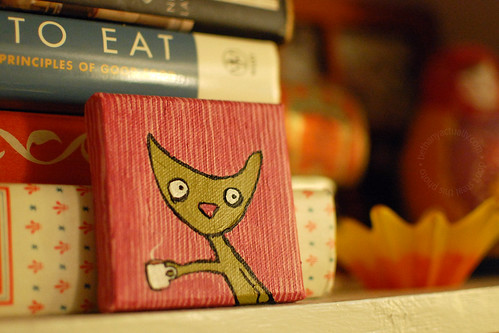 happy thing: a teeny painting of a harried-looking coffee-drinking cat arriving in the mail