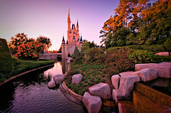 Sunset On Cinderella's Kingdom (Express Monorail) Tags: travel sunset vacation usa castle water colors america landscape orlando nikon colorful warm rss florida availablelight vivid wideangle disney handheld theme cinderella orangecounty wdw waltdisneyworld moat ultrawide kissimmee hdr highdynamicrange themepark magickingdom goldenhour d300 uwa lakebuenavista disneyprincesses baylake reedycreek disneypictures disneyparks expressmonorail dynamicphotohdr disneyphotos joepenniston disneyphotography disneyimages sigma816mm