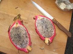 Dragonfruit cut in half