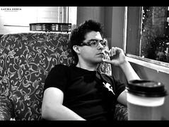 Roberto (LauraSoria) Tags: boy guy window coffee glasses cafe nikon think thinking lenses d3000 jitterzz