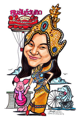lady caricature in Traditional Thai costume