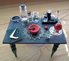 Miniature Young Solitary Practitioner Witch Altar ~ 1:12th Scale (Enchanticals~ Death in Family) Tags: red orange black nature glass metal bells vintage silver table spider miniature beads candle purple bottles bell furniture handmade witch wand painted magic religion gothic bowl ring altar spooky fantasy foundobjects collectible etsy domino solitary wicca paganism homedecor broom dioramas chalice spells glassbottles magicwand wiccan goblet ectoplasm silvertone filigree hellsbells falsehope pentangle oneinchscale roomboxes bookofshadows 112thscale dollhouseminiature onetwelfthscale artistmade etsyteams spellwork minimakers faeteam vintagedomino damteam teammids enchanticals miniaturedollhousescale minitreasures enchanticalsetsy dollhouseitem youngpractitioner gothictray spiderwebtray